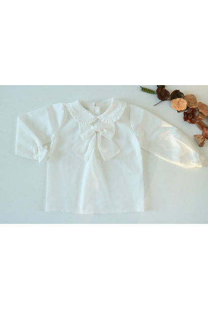 Ivory blouse with bow and peter pan collar