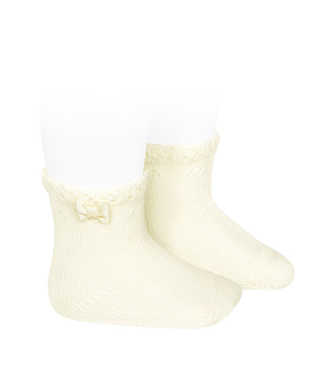 CONDOR  BABY SHORT SOCKS WITH OPENWORK CUFF AND SMALL BOW CAVA