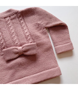 Old pink cardigan with bow on back