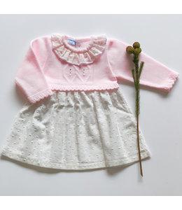 MAC ILUSION Roze gebreide jurkmet witte rok en  roze details