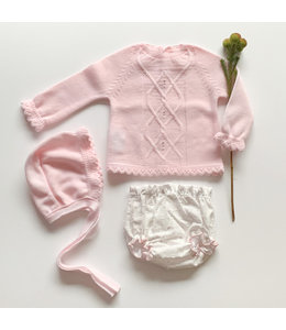 MAC ILUSION 3-piece Pink package with wire diaper pants and hat
