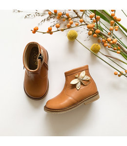 Camel boot with butterfly