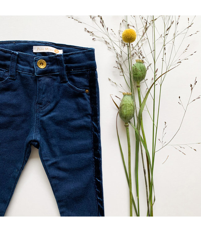 PURO MIMO | Jeans trousers with velvet strip