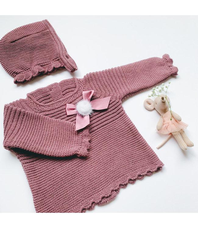 JULIANA   JULIANA | Newborn set with bow and pompom Magenta