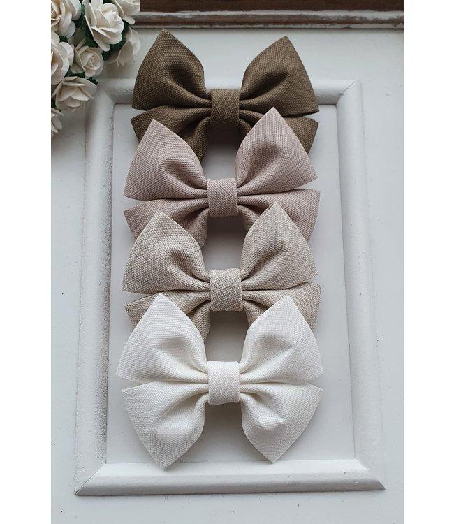 HELENA'S BOWTIQUE Linen bows MOKKA