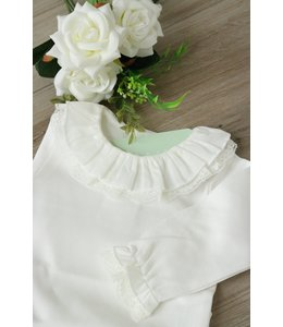 LAIVICAR Witte top met dubbele kraag en lange mouwen