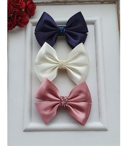 HELENA'S BOWTIQUE Satin bow with glitter OLDROSE