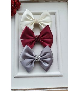 HELENA'S BOWTIQUE Satin bow with glitter SILVER