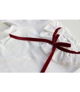 LAIVICAR White longsleeve with velvet burgundy bow
