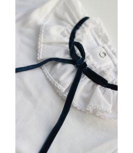 LAIVICAR White longsleeve with velvet blue bow