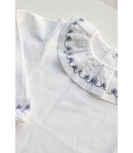 LAIVICAR Prachtige witte longsleeve met groot marineblauw bloemendetail