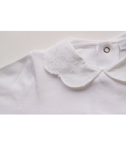 LAIVICAR Beautiful white longsleeve with detailed Peterpan collar