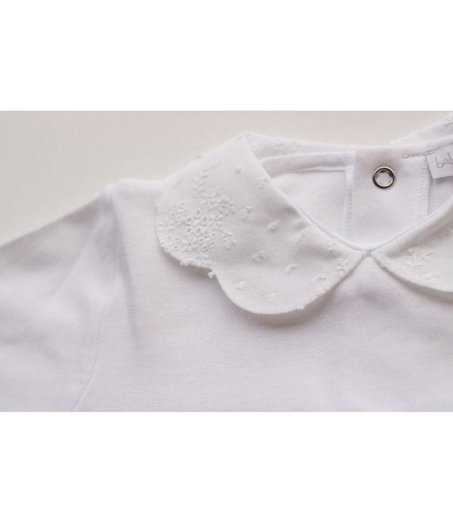 LAIVICAR Prachtige witte longsleeve met gedetailleerd peterpan kraagje