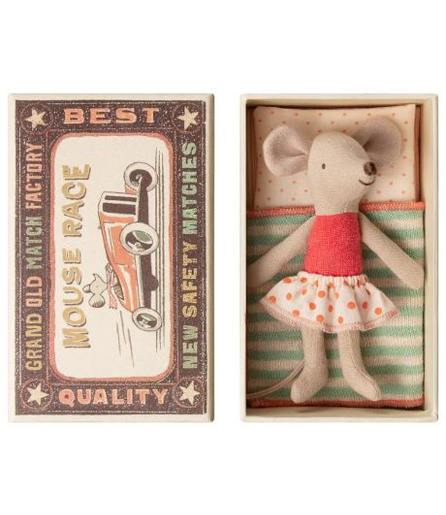 MAILEG | Little sister mouse in box skirt with red dots