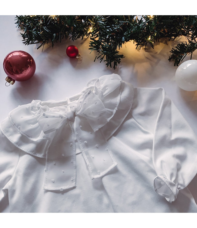 Blouse with tulle bow in the front