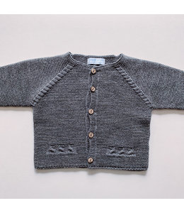 MAC ILUSION Dark Gray Cardigan with wooden buttons