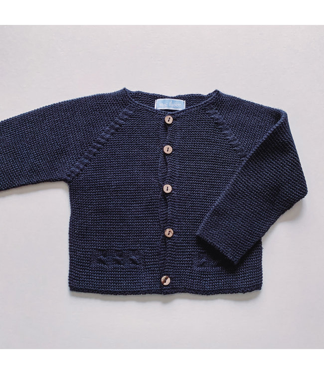 MAC ILUSION MAC ILUSION | Navy blue cardigan with wooden buttons