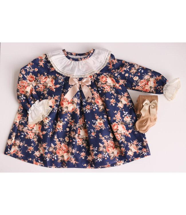 BABY'PHINE Donkerblauwe flowerdress