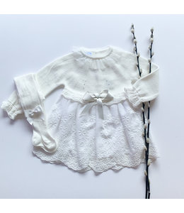 MAC ILUSION Wit gebreide jurk met kanten details