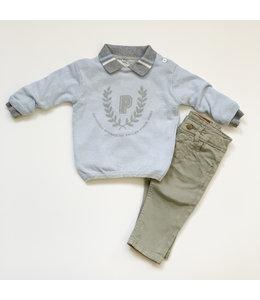 PATACHOU Lichtgrijze aansluitende jeansbroek
