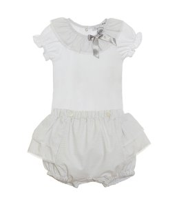 PATACHOU Light gray bloomer set with detail bow