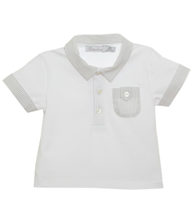 PATACHOU PATACHOU | White polo with light gray collar and chest pocket