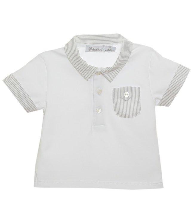 PATACHOU PATACHOU | Witte polo met lichtgrijze kraag en borstzakje