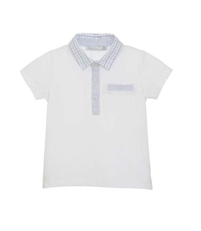 PATACHOU PATACHOU | White polo with checkered blue collar