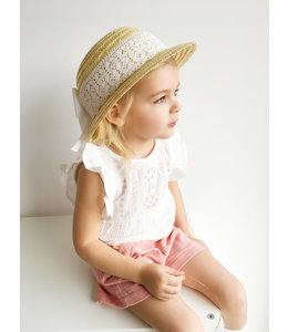BABIDU Beautiful set: shorts with ruffles on pockets and linen blouse with embroidery.