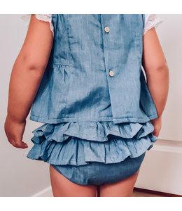 BABIDU Jeansblauwe bloomerset
