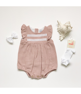 BABIDU Pink linen romper with lace