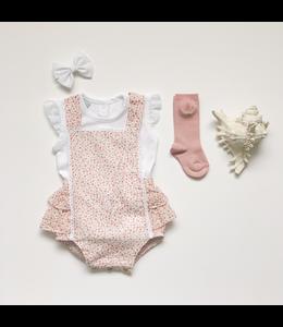 BABIDU Roze romper met fijne bloemenprint