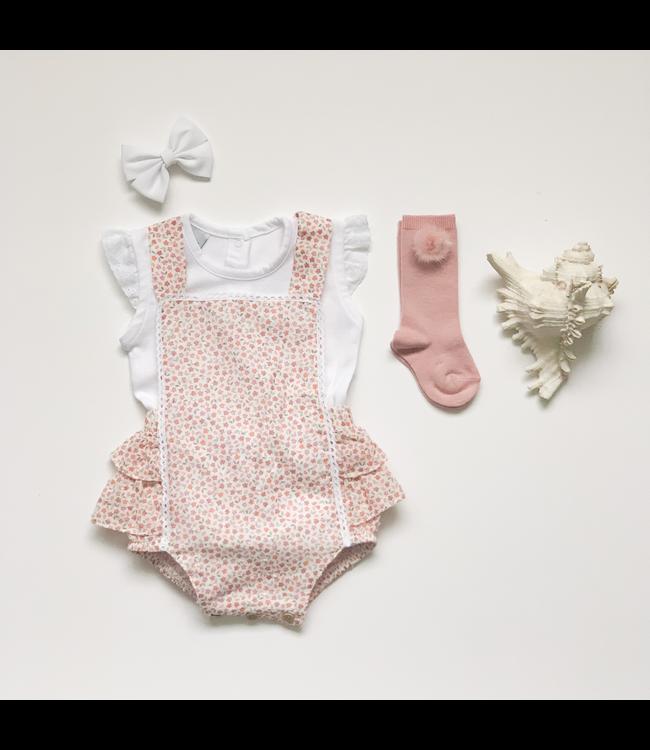 BABIDU BABIDU | Roze romper met fijne bloemenprint