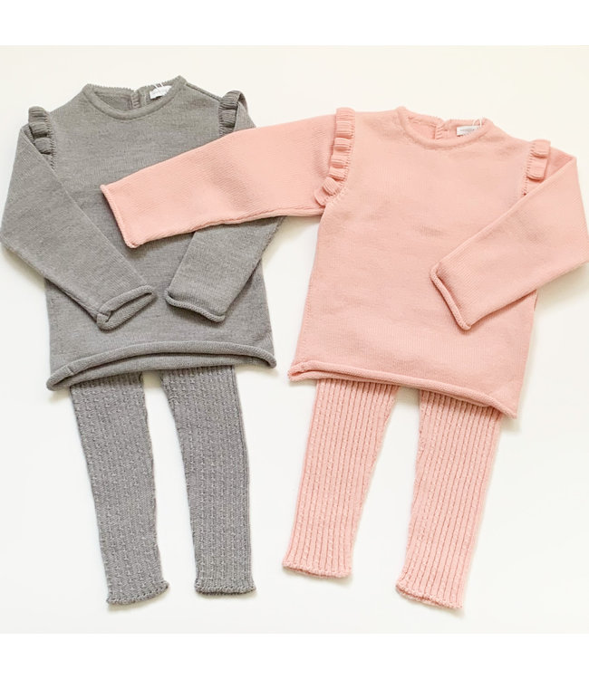 WEDOBLE | Pink  sweater with collar on the shoulder