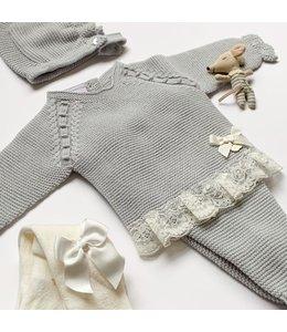 JULIANA   Beautiful newborn set with lace trim Pearl