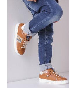 Walkey Donkerbruine jongensschoen met kleurrijk detail