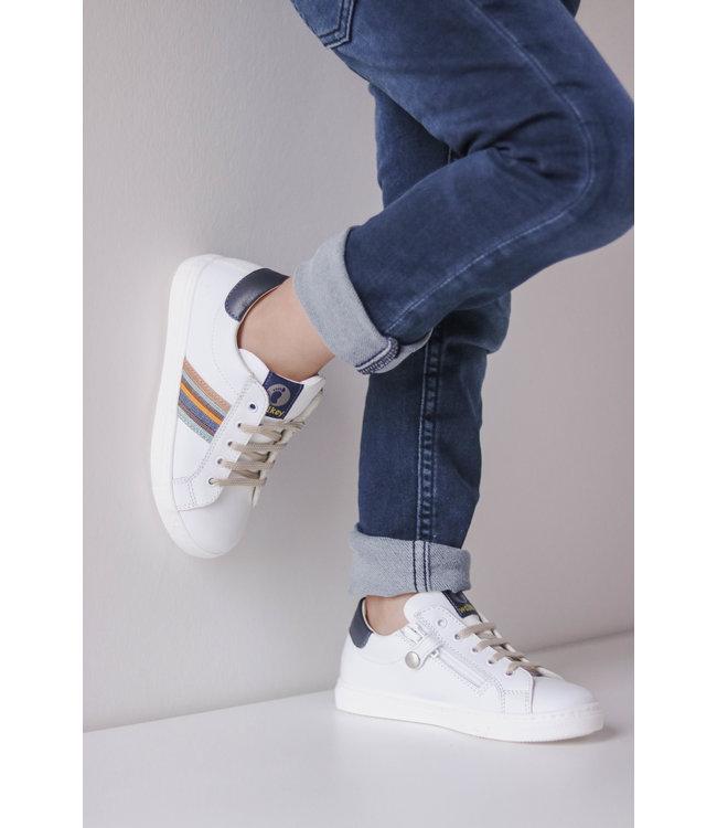 Walkey  White boys' sneaker with colorfull detail