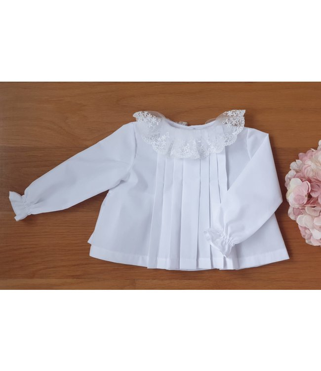 Beautifull blouse with lace collar WHITE