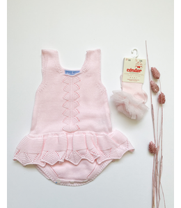 MAC ILUSION Knitted romper with ruffle Pink