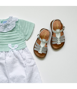MAC ILUSION Cotton dress with knitted canesu and bow Mint
