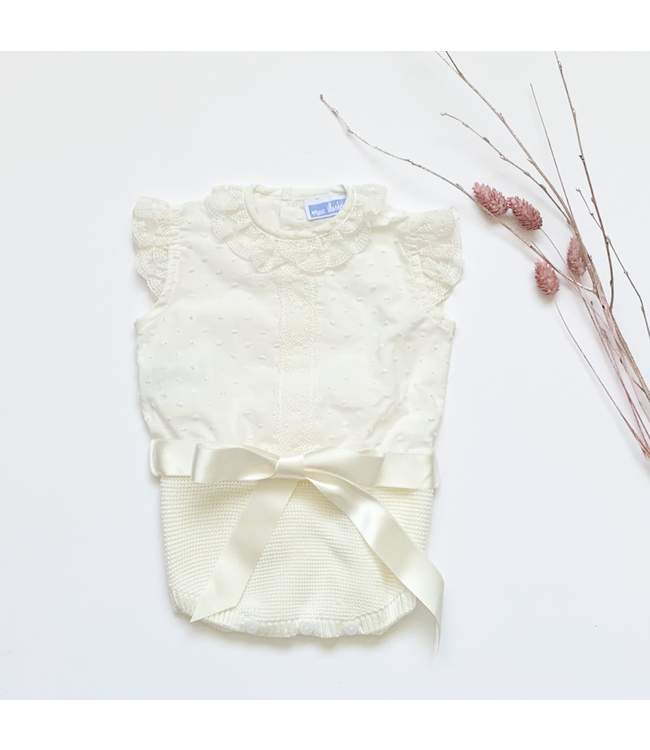MAC ILUSION  MAC ILUSION | Knitted cotton romper with lace and bow