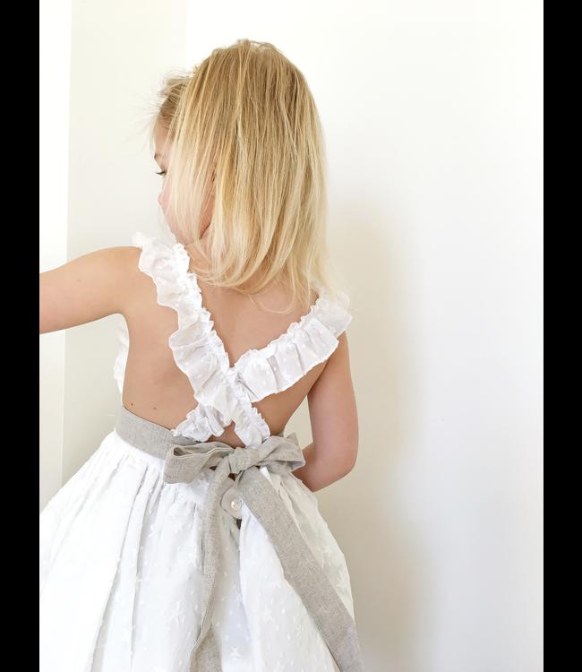 MAC ILUSION MAC ILUSION | Geborduurde stoffen jurk met linnen bloomer Bruin