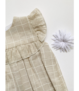 MAC ILUSION Cotton and linen blouse with culotte Natural