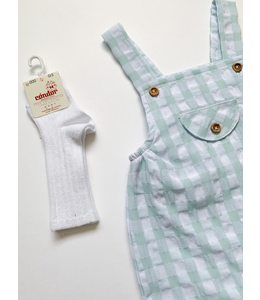 MAC ILUSION Checked overalls with wooden buttons mint