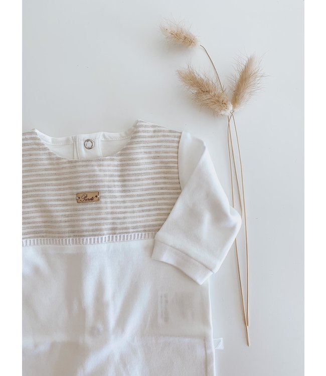 PURETE DU BEBE PURETE   Witte pyjama met afwerking in nougat