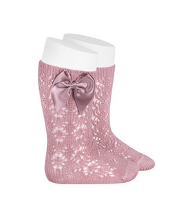 CONDOR  Open woven knee highs with satin bow Rosa Palo