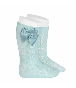 CONDOR  Open woven knee highs with satin bow Mint