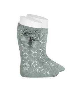 CONDOR  Open woven knee highs with satin bow dry green