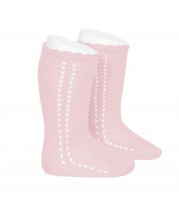 CONDOR  Side Openwork Knee socks Pink
