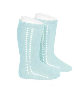 CONDOR  Side Openwork Knee socks Mint